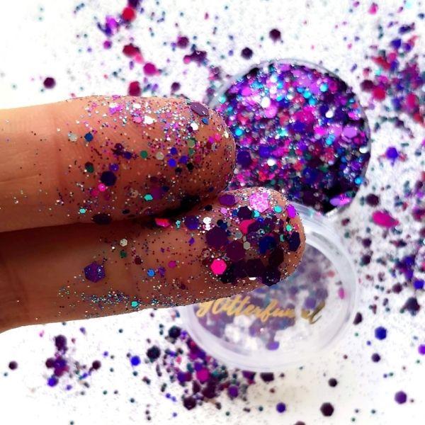 Paarse glittermix hexagon - fijn en grof