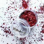 Rood glittermix hexagon – fijn en grof