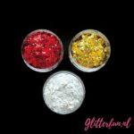 Oeteldonk glitter – rood, wit en geel goud – glim