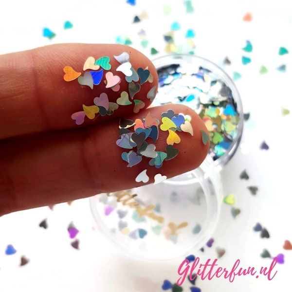 Zilver hartjes glitter