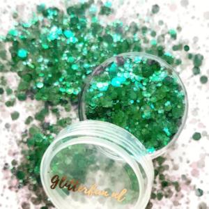 Donkergroen transparant hexagon glitter – 1-3mm