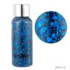 flesje met donkerblauwe glittergel met verschillende vormen glitter