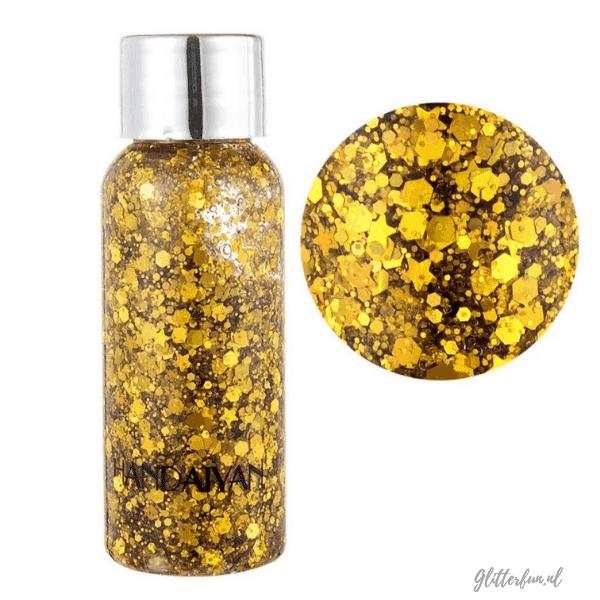 flesje met gouden glittergel met verschillende vormen glitter