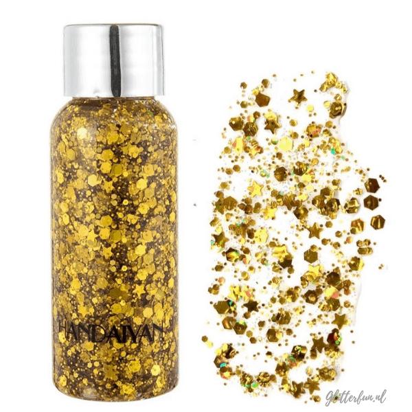 flesje met goud glittergel met verschillende vormen glitter