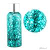 flesje glittergel met verschillende vormen glitter in turquoise blauw