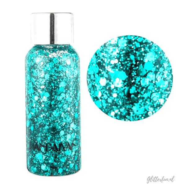 Turquoise blauw glittergel – chunky