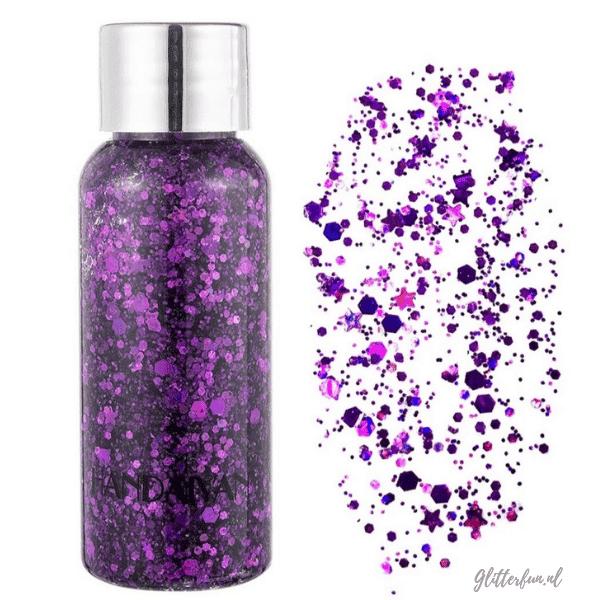 flesje glittergel met verschillende vormen glitter in paars