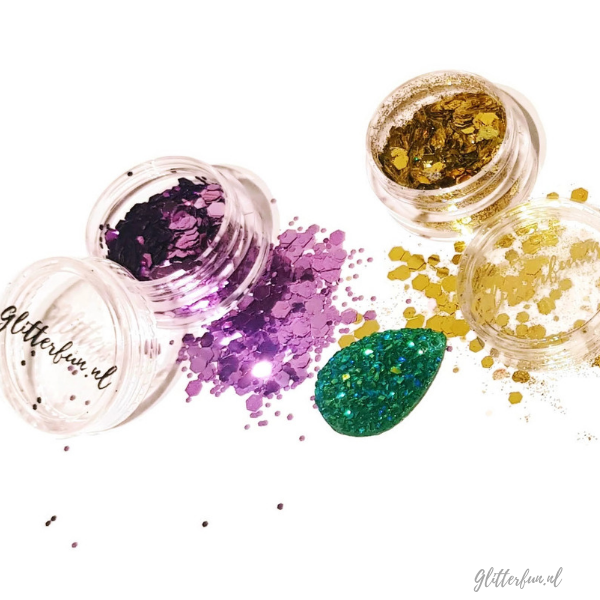 Rapunzel glitter, goud paars groen glitter in potje
