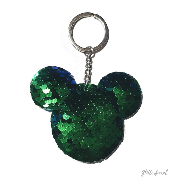Disney, Mickey Mouse sleutelhanger met blauw groene pailetten