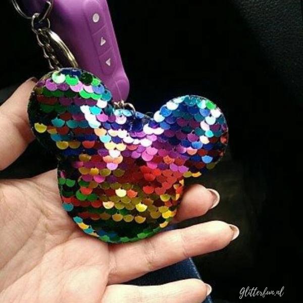 Disney Mickey Mouse sleutelhanger glitter aan autosleutel