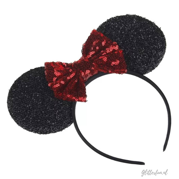 Minnie Mouse diadeem met rode strik en glitter