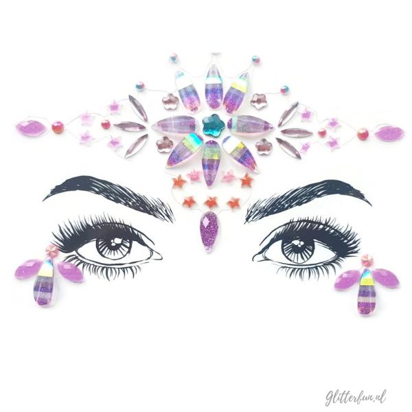 Roze face gems met glitters in de vorm van een bloem of ster