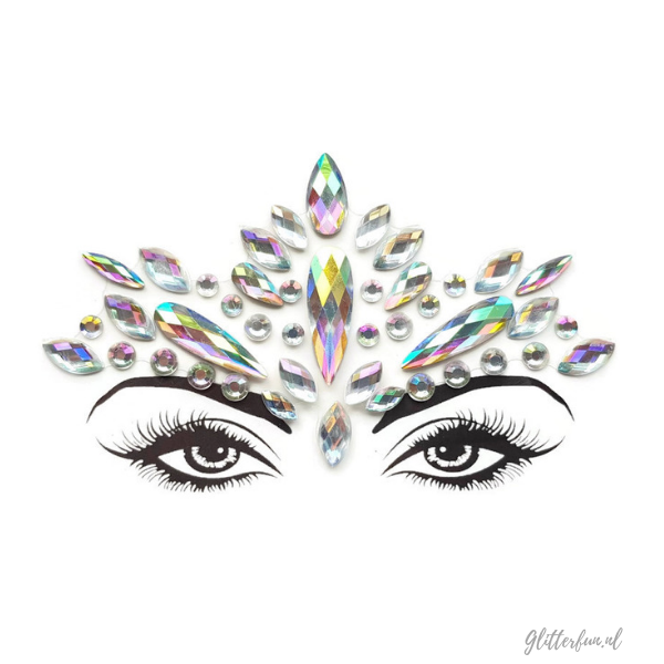 Raye Nessance - face crystal sticker in zilver hologram met ogen