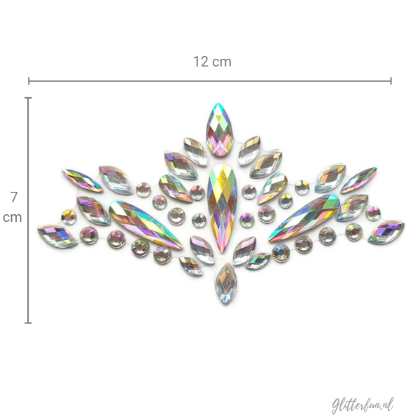 Raye Nessance - face crystal sticker in zilver hologram met maten
