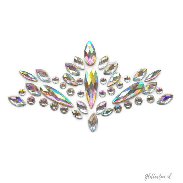 Raye Nessance - face crystal sticker in zilver hologram
