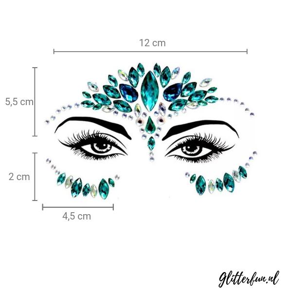 Blauw en zilver Jasmine - gezichtssticker