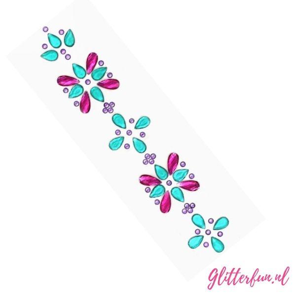 Blauw roze - steentjes sticker