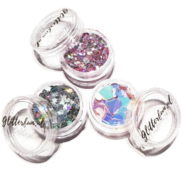 potjes met glitter, roze glitterix, grote hartjes, zilveren sterretjes