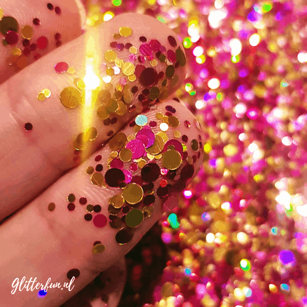 Roze goud – mix grote glitters