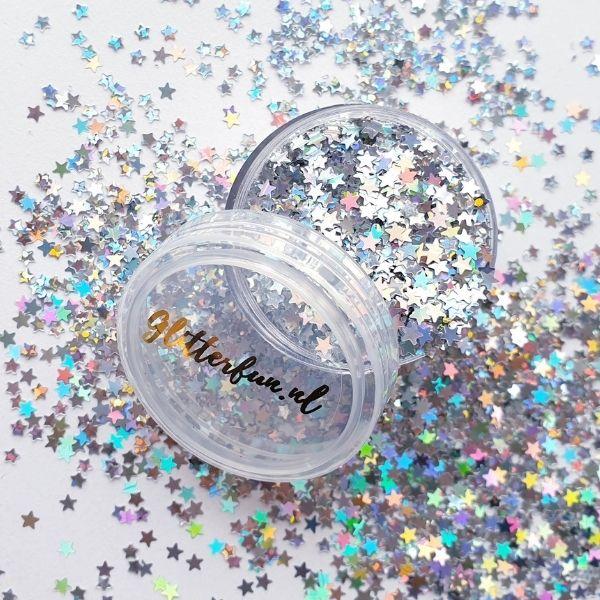 Sterren glitter zilver hologram 3mm